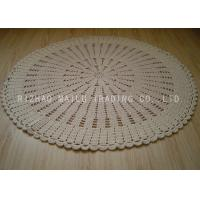 Best Unbleached White Round Crochet Floor Rug / Cotton Crochet Baby Blankets wholesale