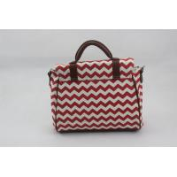 Best Short PU Handle Canvas Beach Bags And Totes , Red Zip Top Travel Beach Bag wholesale