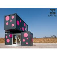 Best Pink And Black Prefabricated Container House Temporary Dormitory With Internal Stairs wholesale