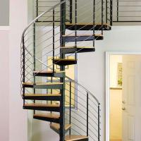 Cheap Internal Spiral Staircase Design For Timber Stair Steps Stainless Steel Railings / Steel Wood Spiral Stair for sale