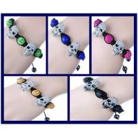 Best Beaded Handmade Jewellery Making Shamballa Ball Bracelet With Skull Ornaments wholesale