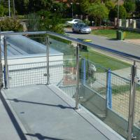 Best Exterior Stainless Steel Frameless Glass Frosted Deck Railing / Glass Deck Post wholesale