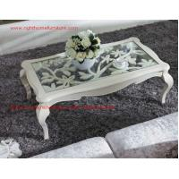 Best Neoclassical style Coffee table in smart flower craft with tempered glass top and Teatable set with wood drawers wholesale