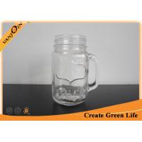 China Beverage 16oz Eco Glass Jar Mugs With Straw Lid , Glass Mason Jars with Handles on sale