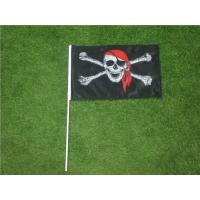 Best Hand Held Custom Advertising Flag Banners With Solid Black Plastic Pole wholesale