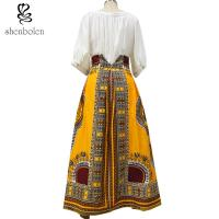Cheap Cotton Printed A Line Style African Print Skirts Designs Batik Fabric Fashion for sale