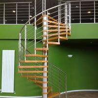Best Internal Spiral Staircase Design For Timber Stair Steps Stainless Steel Railings / Steel Wood Spiral Stair wholesale