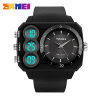 Cheap Large Dial Men Sport Multifunction Digital Watch Three Time Zone Shock wholesale