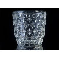 Best Eco - Friendly 300ml Clear Glass Candle Holders With Nail Embossed Pattern wholesale