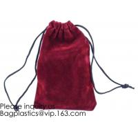 China Trim Velvet Cloth Jewelry Pouches/Drawstring Bag Gift Bags,Wine Red, Blue, Red, Pink, Dark Green,Product Gift Bag PACK on sale