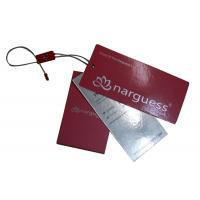 China Pink Matt Coated Clothing Hang Tags Silvery Foil Stamped With Button Bags , Washing Marks on sale