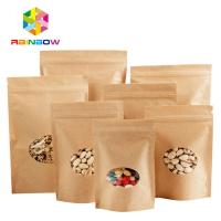 China Stand Up Ziplock Kraft Customized Paper Bags With Polyethylene And Clear Window on sale