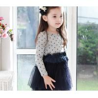 Best cotton long sleeve dot net yarn princess girl dresses,kids dress,children dress wholesale