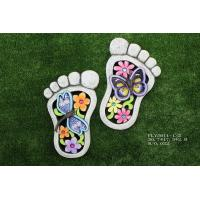 China Foot Shaped Ceramic Garden Decorations , Outdoor Lovely Cement Stepping Stone for sale