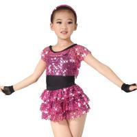 Best Children Girls Dance Outfit Sequin Jazz Dance Clothes Sleeveless With Tank Top Tiers Skirt Black Leotard wholesale