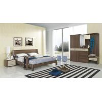Best Walnut wood home bedroom furniture sets by curved headboard bed and full mirror stand wholesale