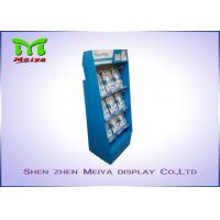 Best UV coating blue color custom cardboard displays rack with plastic hooks for Mani Pedi wholesale