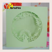 China Unique green wedding invitation card laser die cut with couple and birds on sale