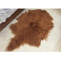 Best Soft Curly Long Hair Large White Sheepskin Rug 100% Mongolian / Tibetan Lamb Fur wholesale