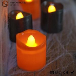 Best Black Orange Plastic Halloween LED Tea Light Candles 6 Set RoHS wholesale