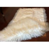Best Mongolian Sheepskin Rug Luxurious 60 x120cm White Long Curly TIbetan Sheepskin wholesale