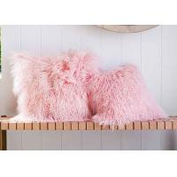 Best Candy Pink Long Mongolian Sheepskin Decorative Throw Pillow With Single Sided Fur wholesale