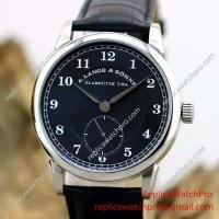 A. Lange & Sohne Watch Black Dial with Black Leather Band