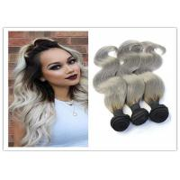Natural Silver Grey Ombre Human Hair Extensions Straight Brazilian Virgin Hair