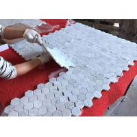 China Natural Art Grey 305x305mm 10mm Marble Flower Mosaic Tile on sale