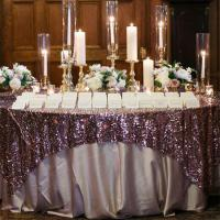 Best Embroidered Glitter Sequin Tablecloth , Gold Round Tablecloth 106x138 Large Size wholesale