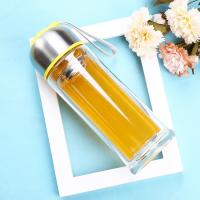Best Environmental 350ml Double Wall Glass Bottle With Tea Infuser , Easy Cleaning wholesale