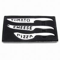 Buy cheap 3-piece cheese knife set with gift box packing, cheese/pizza/tomato knives from wholesalers