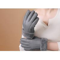 Best Double Face Leather Mittens Sheepskin Lined , Windproof Sheepskin Driving Gloves wholesale