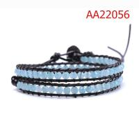 Two Layer Multicolor Stone Beads Bracelet, Custom Leather Bracelets For Couples