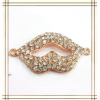 Buy cheap Personalized Alloy Handmade Jewelry Findings Crystal Gold Lip Charm 26 * 48mm from wholesalers