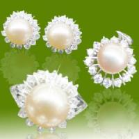 Best 925 Sterling Silver Pearl Earring Ring and Pendant Jewelry Set (RSC5222A) wholesale