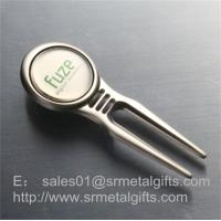 Engraved metal golf pitchfork with magnetic ball marker