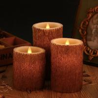Cheap Set of 3 Bark Simulation Pillar LED Candles with 10-Key Remote and Cycling 24 Hours Timer for sale