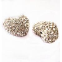 Cheap 12-16mm White Color Clay Heart Shaped Beads,Clay Shamballa Beads with two hole for sale