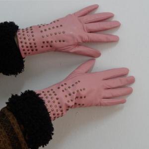 Best Ladies Fashion goatskin genuine leather gloves finger dress gloves with rivet wholesale