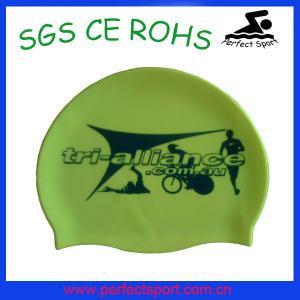 Best 2015 OEM printing adult waterproof silicone swim cap wholesale