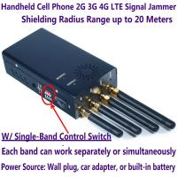 Best 4 Antenna Handheld Cell Phone 2G 3G 4G LTE Signal Jammer Blocker W/ Single Control Switch wholesale