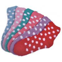 Best Polka dot pattern Polyester plush socks with aloe infused , spa socks wholesale