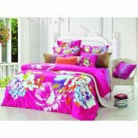 Cheap Floral/strips reactive printed bedding set for sale