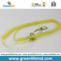 Best Yellow Retractable Clip Elastic Plastic Coil Cord Rope Strap Lanyard wholesale