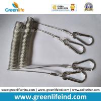 Best Safety Life Belt Wire Reinforced Coiled Cable Clear PU Coated w/Silver Carabiner Hooks wholesale