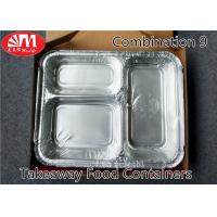 China 3 Compartments Aluminium Foil Takeaway Food Containers Foods Packing Useage on sale