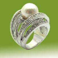 Best Copper CZ Ring with Pearl (RBA1000) wholesale