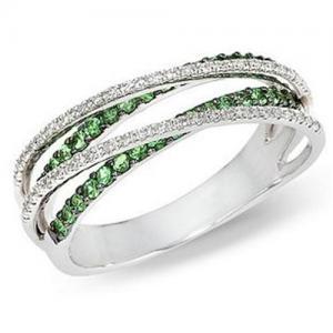 Best Tsavorite and Diamond 14K White Gold Criss Cross Ring wholesale