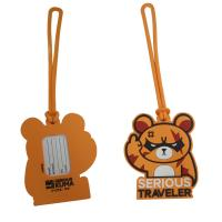 China Custom Cartoon Design 3D Embossed Logo Soft Touch PVC Silicone Plastic Luggage Tag Souvenir on sale